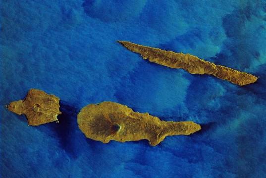 Faial, the dagger-like Sao Jorge and Pico Island