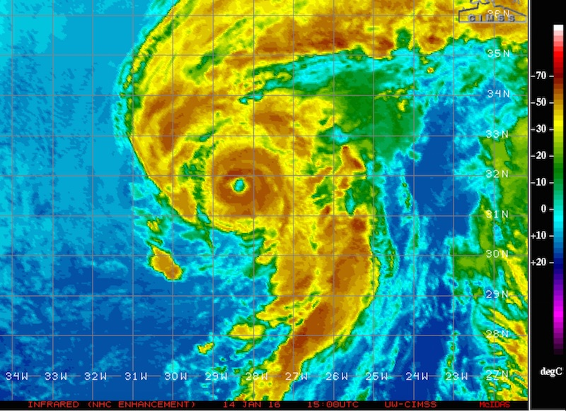 Figure 1. Infrared image of Hurricane Alex at 15Z (10:00 am EST) Thursday, January 14, 2016. Image credit: tropic.ssec.wisc.edu/