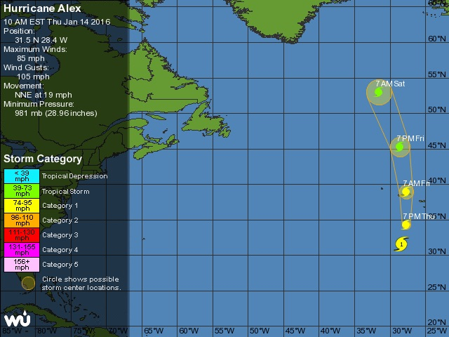 First Atlantic Hurricane in January Since 1955 Hurricane Alex
