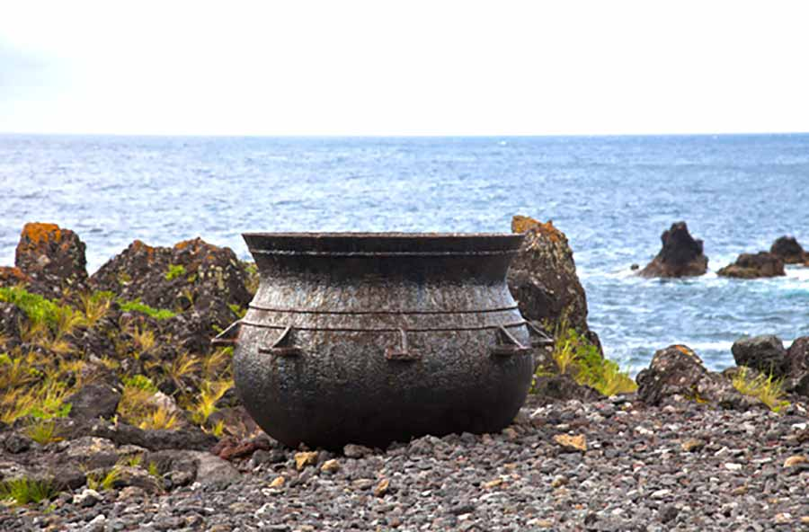 This cauldron was used during whaling to boil whale meat to extract oil.