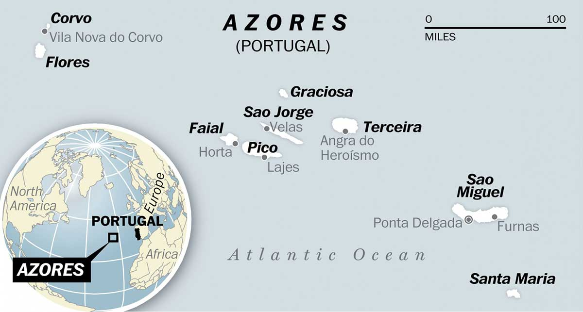 Map of the Azores a paradise only a few hours from North America and Canada