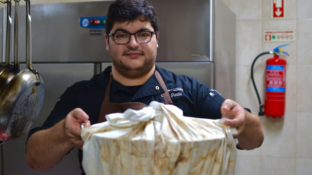Furnas chef Paulo Costa with his Cozido.